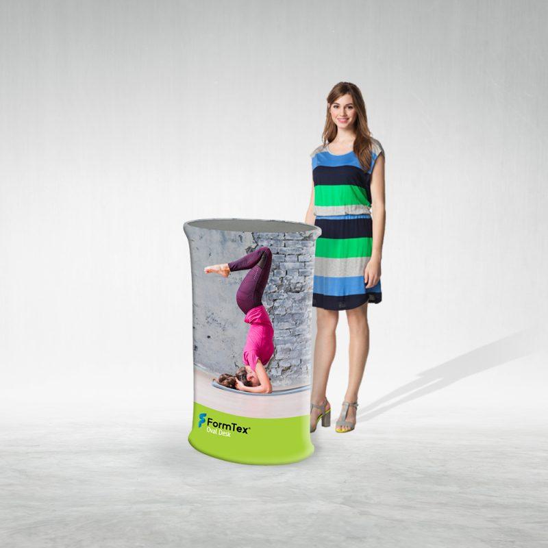 Pop Up Desk Textil Oval